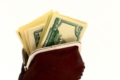 Purse full of dollars Stock Photography