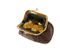 Purse full of gold coins Stock Photo