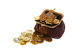 Purse full of gold coins. Royalty Free Stock Photography