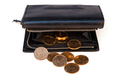 Purse with gold chinks Royalty Free Stock Images