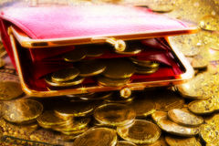 Purse on gold coins Stock Images