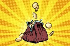 Purse with gold coins. Pop art retro vector illustration Royalty Free Stock Photos