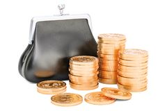 Purse with golden coins around, 3D rendering Stock Photography