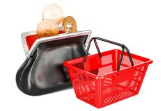 Purse with golden coins and empty shopping basket. Market basket Stock Images