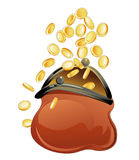 Purse and golden coins Stock Photography