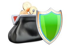 Purse with golden coins and shield, financial insurance and busi. Ness stability concept. 3D Stock Photography