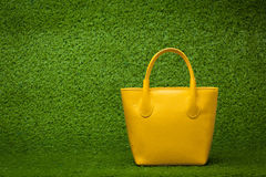 Purse on green grass Royalty Free Stock Image