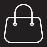 Purse handbag line icon, white outline sign, vector illustration.  Royalty Free Stock Photos
