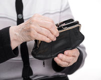 Purse in the hands. Of an old woman Royalty Free Stock Photo
