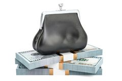 Purse with heap of dollar packs, 3D rendering. Isolated on white background Stock Illustration