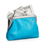 Purse with hundred dollar banknote isolated on white Royalty Free Stock Photo