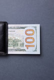 Purse with hundred dollar banknotes Royalty Free Stock Photos