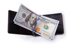 Purse with hundred dollar banknotes Stock Photos