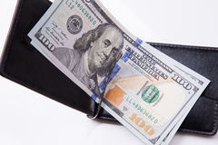 Purse with hundred dollar banknotes Stock Image