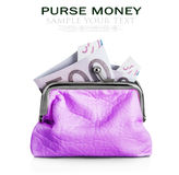 Purse with hundred euro banknote isolated Stock Photo