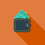 Purse icon. Flat vector related icon with long shadow for web and mobile applications. It can be used as - logo, pictogram, icon, infographic element. Vector Stock Images
