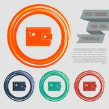 Purse icon on the red, blue, green, orange buttons for your website and design with space text. Illustration Royalty Free Stock Photo