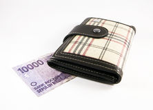 Purse with Indonesian Money Stock Image