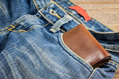 Purse in jeans Stock Photography