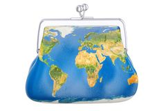 Purse with map of Earth, global commercial concept. 3D rendering. Isolated on white background Stock Image