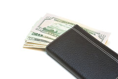 Purse with money. Purse with money isolated on a white background Stock Photos
