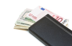 Purse with money. Royalty Free Stock Images