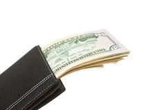 Purse with money. Purse with money isolated on a white background Stock Photo