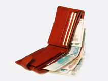 Purse with money. On white background Royalty Free Stock Photos