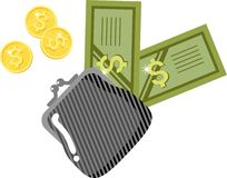 Purse and money. Small black purse with coins and money royalty free illustration