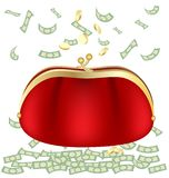 Purse and money Royalty Free Stock Images