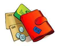 Purse and money. Red wallet with banknotes, coins and green discount card Royalty Free Stock Photos