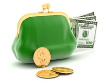 Purse and money Royalty Free Stock Photos
