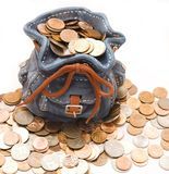 Purse with money. Funny bag with much money Stock Photos