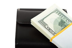 Purse and money. On the white background Stock Photography
