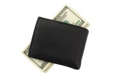 Purse with money. Black purse with hundred dollar bills Royalty Free Stock Photography