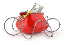 Purse with money and barbed wire. Isolated on white background Stock Photography