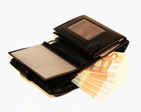 Purse with money. Black mens wallet with money Royalty Free Stock Photography