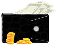 Purse with money Royalty Free Stock Photography