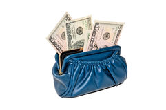 Purse with money in dollars Stock Image