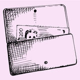 Purse with money. Doodle style, sketch illustration stock illustration