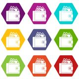 Purse with money icon set color hexahedron. Purse with money icon set many color hexahedron isolated on white vector illustration Stock Photography