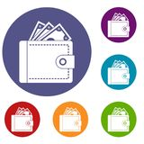 Purse with money icons set. In flat circle reb, blue and green color for web Stock Image