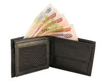 Purse with money isolated Royalty Free Stock Images
