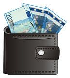 Purse and money. A lot of blue euro cash peek up from purse Stock Photo