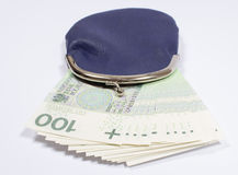 Purse with money. Polish currency. Royalty Free Stock Photo