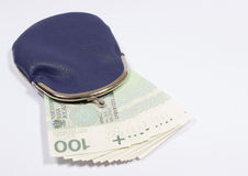 Purse with money. Polish currency. Royalty Free Stock Photography