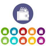 Purse with money set icons Royalty Free Stock Photography