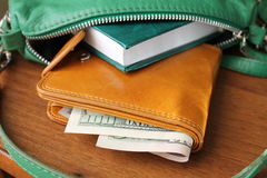 Purse with money. Women's accessories. Things from open bag Royalty Free Stock Images