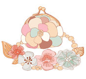 Purse and necklace in pastel colors Stock Image