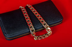 Purse and a necklace on  red background Royalty Free Stock Image